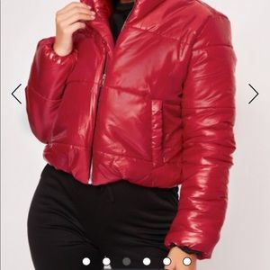 USED-Ruby Red Puffer Jacket